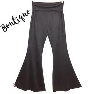 Boutique western velvet boho chic bell flare pants